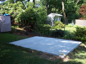Photo of the finished concrete pad.